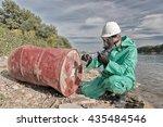 environmentalist taking sample...   Shutterstock . vector #435484546