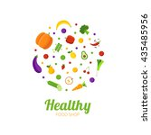 healthy food shop logo concept. ... | Shutterstock .eps vector #435485956