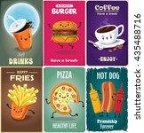 vintage fast food poster design ... | Shutterstock .eps vector #435488716