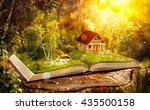 cute magical log house in a... | Shutterstock . vector #435500158