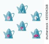 set of tea pots. mint  lemon... | Shutterstock .eps vector #435504268