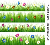 green grass with flowers and... | Shutterstock . vector #435518542