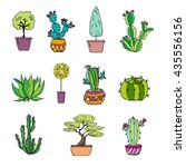 hand drawn set with plants.... | Shutterstock .eps vector #435556156