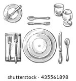 table setting sketch. | Shutterstock . vector #435561898