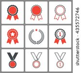 award vector icons set.... | Shutterstock .eps vector #435572746