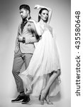 fashion sexy couple dressed... | Shutterstock . vector #435580648