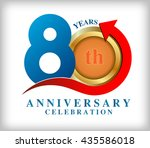 template logo 80th anniversary... | Shutterstock .eps vector #435586018