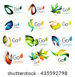 set of abstract leaves. nature... | Shutterstock . vector #435592798