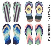 set of beach slippers. colorful ... | Shutterstock .eps vector #435596962