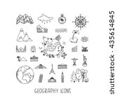 geography hand drawn vector... | Shutterstock .eps vector #435614845