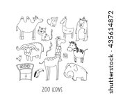 zoo hand drawn icon set | Shutterstock .eps vector #435614872