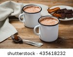 hot chocolate on the rustic... | Shutterstock . vector #435618232