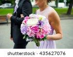 beautiful bride with bouquet... | Shutterstock . vector #435627076