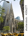 A wide angle view of St. Patrick's cathedral in New York City. - stock photo