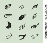 wings icons vector set. wings.... | Shutterstock .eps vector #435630025