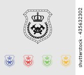 firefighter badge vector icon | Shutterstock .eps vector #435632302