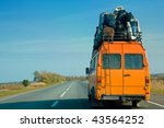 the small bus with bags on a... | Shutterstock . vector #43564252