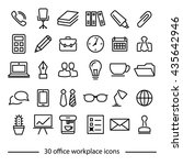 set of office workplace line... | Shutterstock .eps vector #435642946