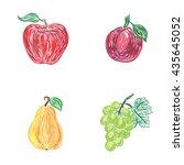 apple  plum  pear  grapes ... | Shutterstock .eps vector #435645052
