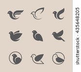 bird icons set. dove and pigeon ... | Shutterstock .eps vector #435648205