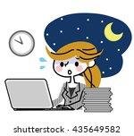 overtime businesswoman. | Shutterstock .eps vector #435649582