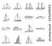 boat and ship icons set outline.... | Shutterstock .eps vector #435659092
