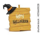 realistic halloween signboard... | Shutterstock .eps vector #435660028