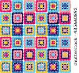 granny squares pattern and... | Shutterstock .eps vector #435660892