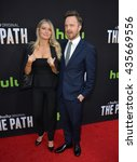 """Small photo of LOS ANGELES, CA - MARCH 21, 2016: Actor Aaron Paul & wife Lauren Parsekian at the premiere for the Hulu original TV series """"The Path"""" at the Arclight Theatre, Hollywood."""