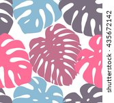 tropical leaves seamless... | Shutterstock .eps vector #435672142