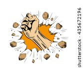 hand brakes the wall. comics... | Shutterstock .eps vector #435672196