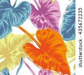 tropical leaves seamless... | Shutterstock .eps vector #435672235