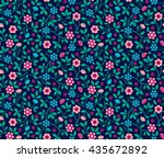 small blue and pink flowers.... | Shutterstock .eps vector #435672892