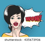 surprised young girl face with... | Shutterstock . vector #435673936