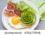 fried egg  bacon and avocado... | Shutterstock . vector #435673948