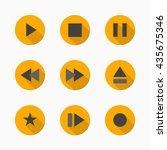 set of flat media player... | Shutterstock .eps vector #435675346