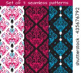 set of 3 seamless patterns in...   Shutterstock .eps vector #435676792