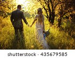 silhouette of a loving couple...   Shutterstock . vector #435679585