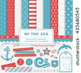 sea scrapbooking kit.... | Shutterstock .eps vector #435680545