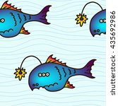 cartoon party anglefish vector... | Shutterstock .eps vector #435692986