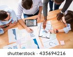 concentrated colleagues working ... | Shutterstock . vector #435694216