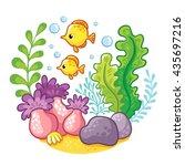 artoon underwater life. ... | Shutterstock .eps vector #435697216