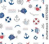 cute marine life doodle... | Shutterstock .eps vector #435702862