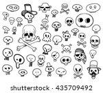 skulls doodles | Shutterstock .eps vector #435709492
