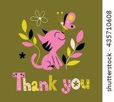 thank you card with cute kitten | Shutterstock .eps vector #435710608