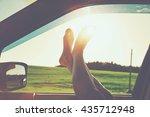 Woman Legs Out Car Window....