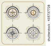 nautical vintage compass set on ... | Shutterstock .eps vector #435737728