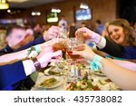 holiday event people cheering... | Shutterstock . vector #435738082