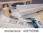 construction plans with yellow... | Shutterstock . vector #435745588