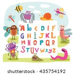 funny monsters english alphabet  | Shutterstock .eps vector #435754192